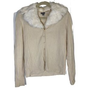 Ann Taylor Cream Ribbed Sweater Removable Collar